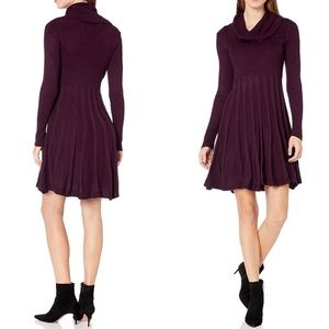 Calvin Klein Burgundy Cowl Neck Sweater Dress